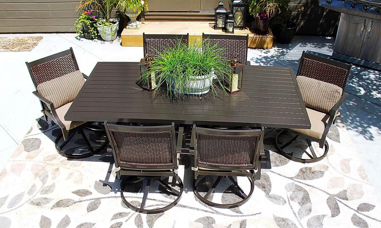 Pebble Lane Living 7pc Patio Hand Woven Wicker and Aluminum Furniture Set – Seats 6