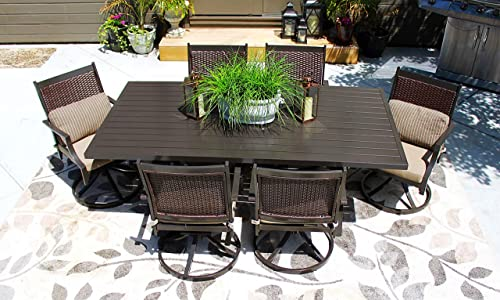 Pebble Lane Living 7pc Patio Hand Woven Wicker and Aluminum Furniture Set – Seats 6