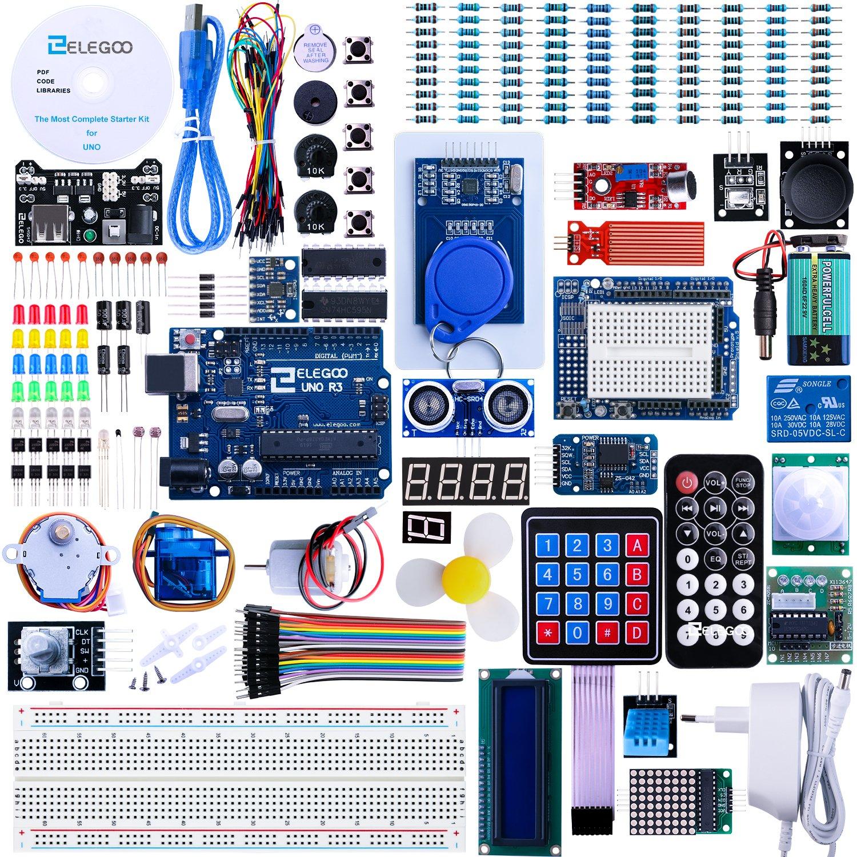Elegoo Conjunto Avanzado de Iniciación a Arduino UNO con Tutorial en Español y Conjunto de Arduino UNO R3, Relé, Modulo de Fuente de Alimentación, ...