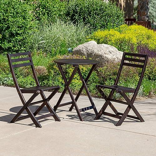 DTY Outdoor Living Twin Lakes 3-Piece Eucalyptus Caf Bistro Set – Espresso, Round Table
