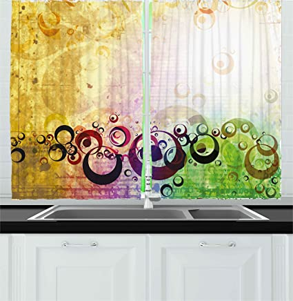 Ambesonne Yellow Kitchen Curtains, Old Grunge Messy Retro Display With  Abstract Bubble Like Shapes Antique