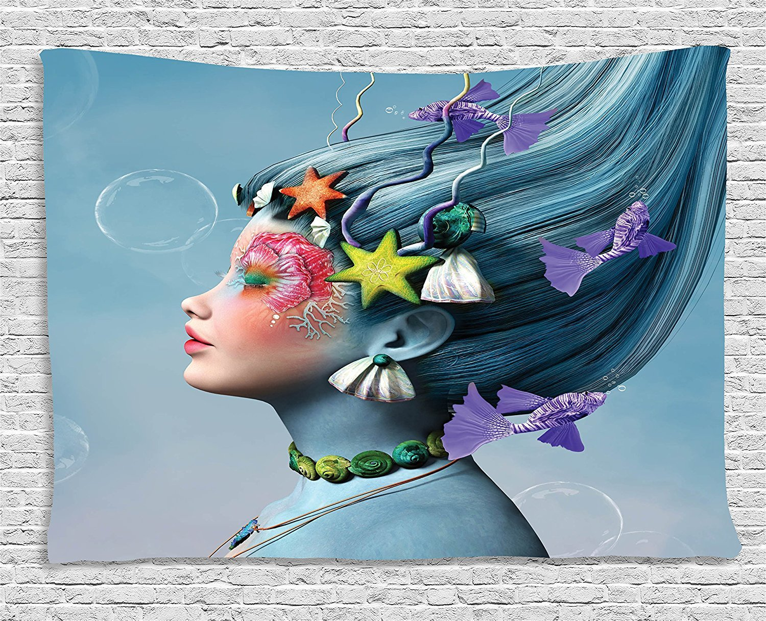 asddcdfdd Mermaid Tapestry, Woman with Underwater Themed Make Up Hairstyle Starfishes Seashells Fishes Bubbles, Wall Hanging for Bedroom Living Room Dorm, 80 W X 60 L Inches, Multicolor