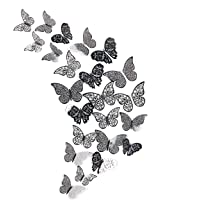 pinkblume Black Gray 3D Butterfly Wall Decor Decals Stickers Removable DIY Metallic Paper Butterflie Wall Murals…