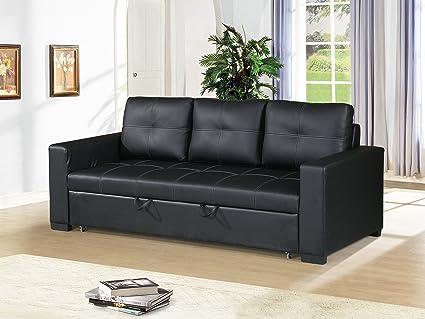 Amazon.com: Esofastore Black Faux Leather Convertible Sofa ...