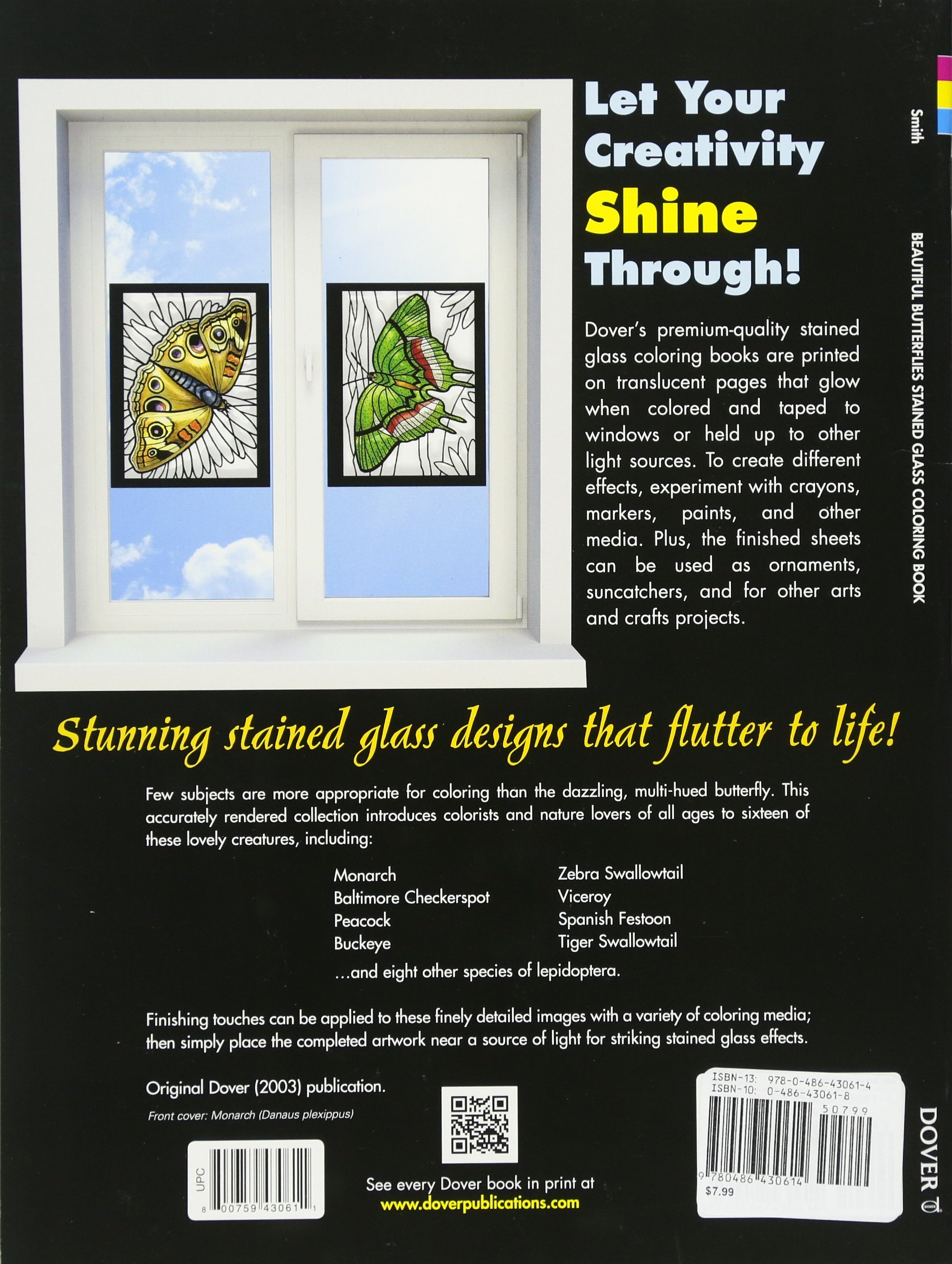 Beautiful Butterflies Stained Glass Coloring Book Dover Nature A G Smith 9780486430614 Amazon Books