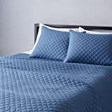 Amazon Basics Heather Cotton Jersey Quilt Set - Full/Queen, Chambray