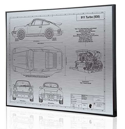 Amazon.com: Porsche 930 911 Turbo Blueprint Artwork-Laser Marked & Personalized-The Perfect Porsche Gifts: Handmade