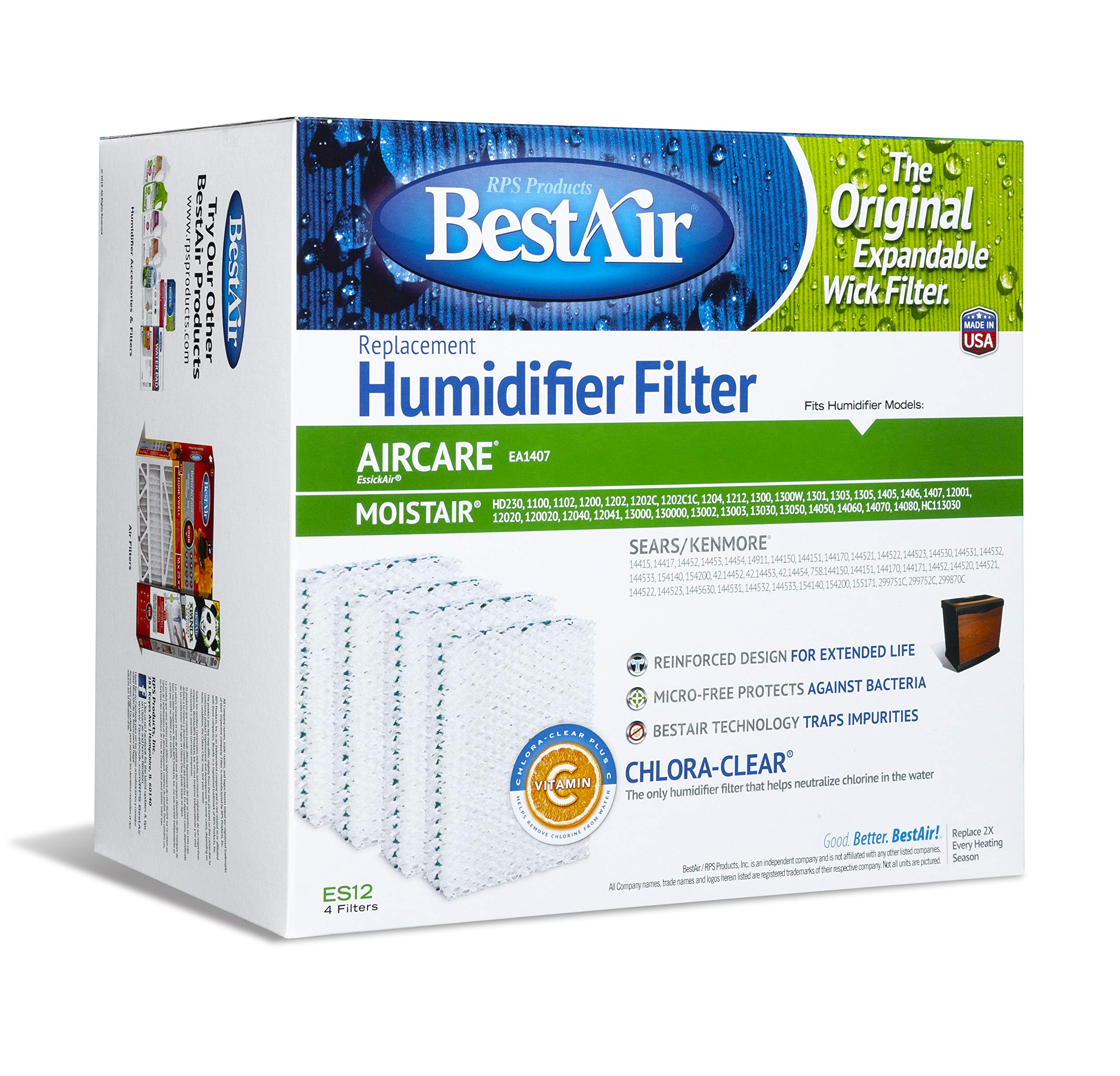 BestAir ES12-2 Extended Life Humidifier Replacement Paper Wick Humidifier Filter, For Emerson, Quiet Comfort & Kenmore Models, 10'' x 9.4'' x 6.5'', Single Pack (4 Filters) by BestAir