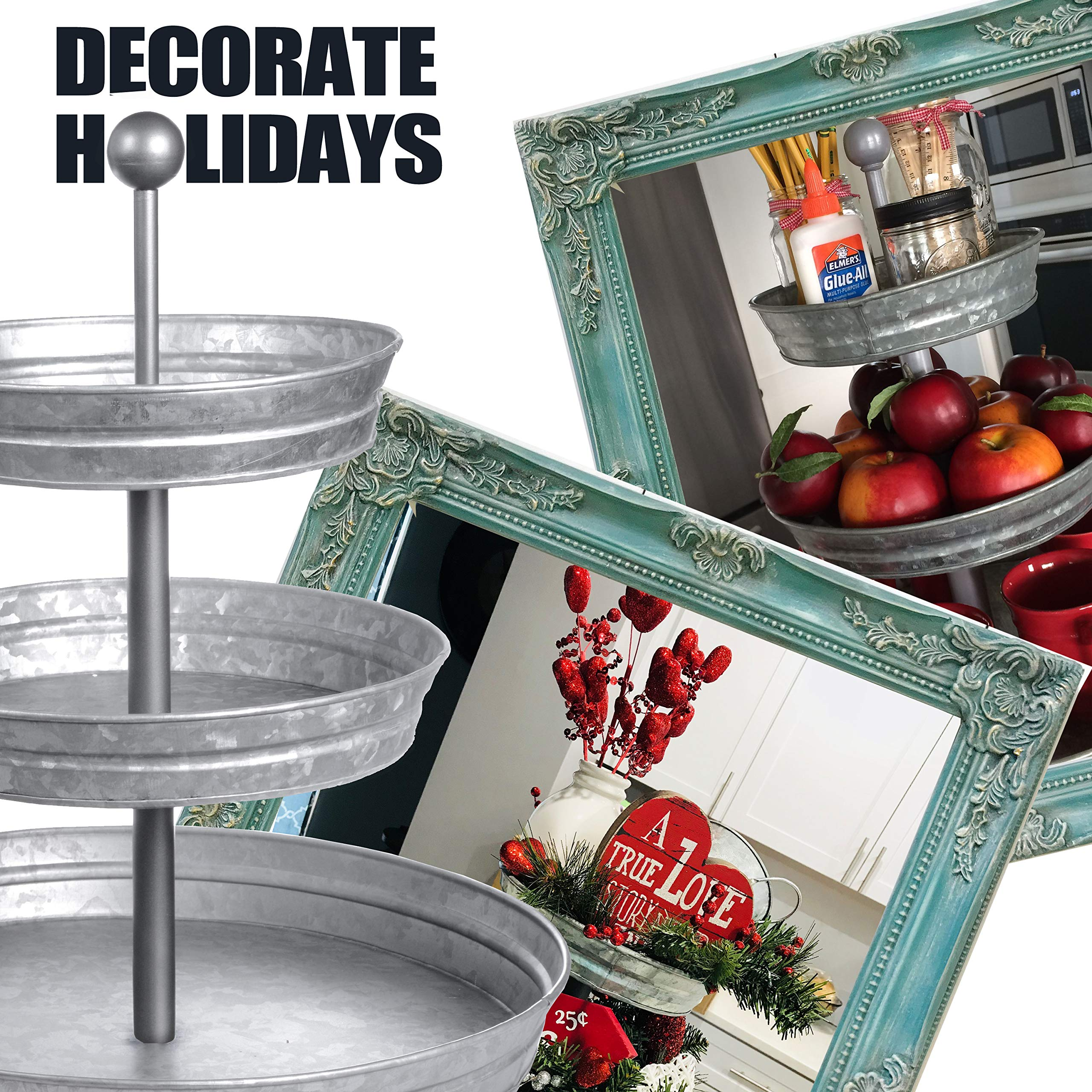 DELBRIO - 3 Tier Serving Tray (Jumbo 17'' Base) Rustic, Decorative Galvanized Metal | Home Farmhouse Decor & Display Stand | Coffee, Fruit & Veggie, Party Bar Serving Tray, Cupcake Stand | FOOD SAFE by DELBRIO (Image #4)