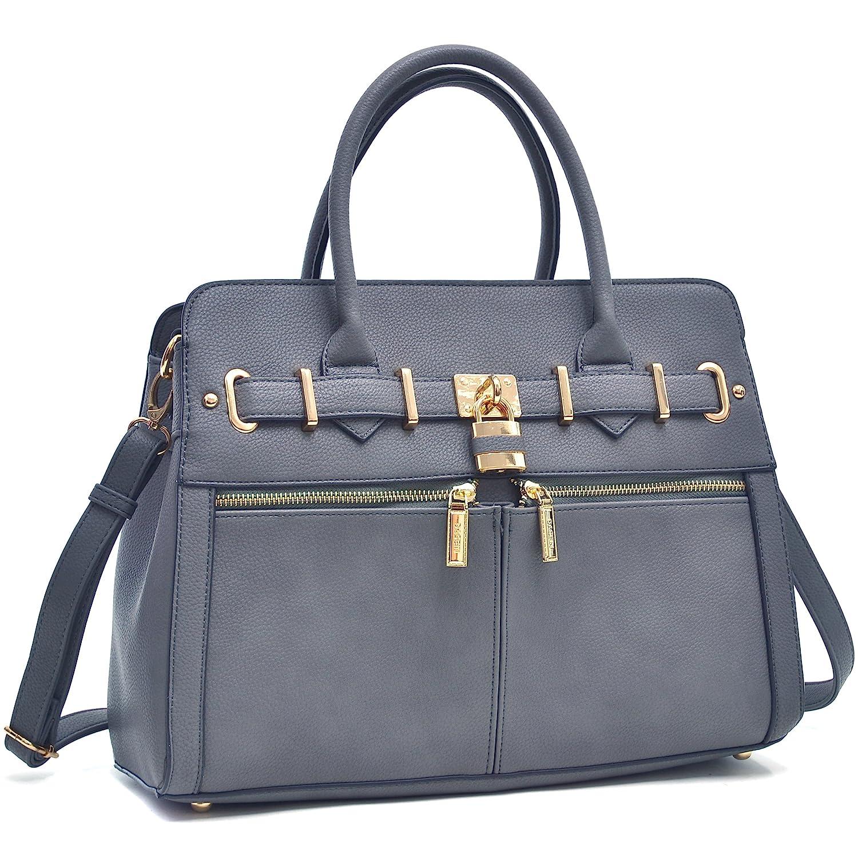 Dark Grey New Women Padlock Briefcase Vegan Leather Satchel Handbags Shoulder Bag Work Purse with Double Front Pockets