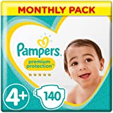 Pampers Premium Protection Size 4+, 140 Nappies, (10-15 kg)/(9-18kg), Monthly Pack