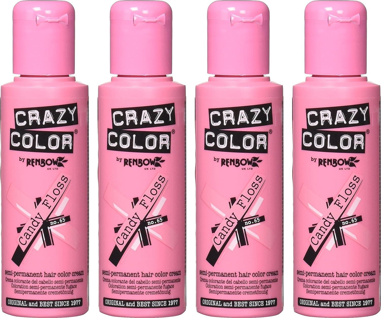 Tinte de pelo semipermanente Crazy Colour de Renbow Candy Floss núm. 65 (100 ml), caja de 4 unidades