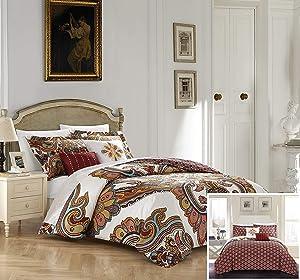Chic Home Orli 5 Piece Reversible Comforter Set, Queen, Beige