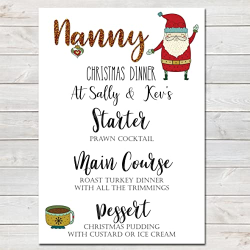 Christmas Dinner Menus.Personalised Christmas Menu Name Place Card Santa Festive