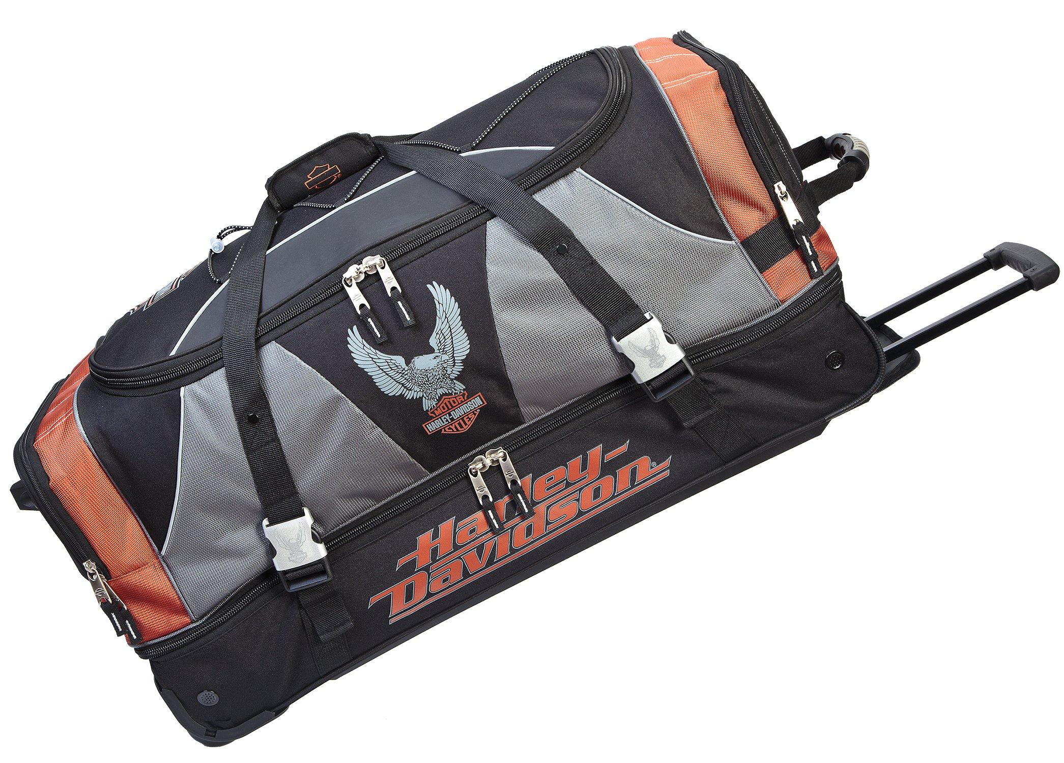 Harley Davidson 32 Inch X-Large Duffel with Organizer, Rust/Black, One Size