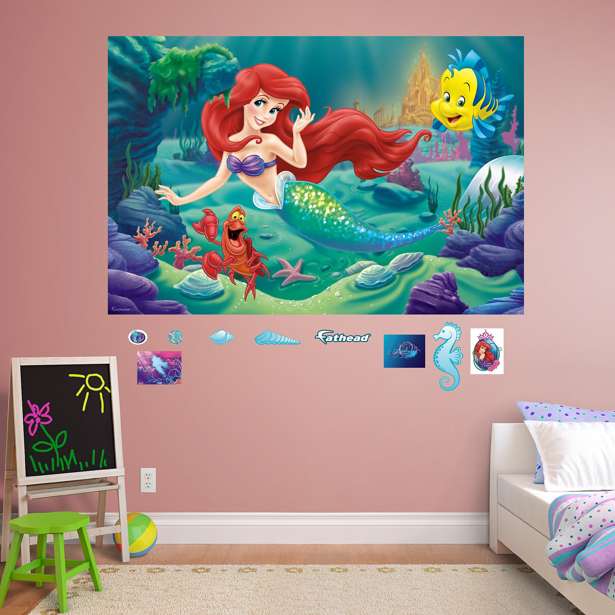 FATHEAD The Little Mermaid: Mural-Huge Officially Licensed Disney Removable Graphic Wall Decal by FATHEAD