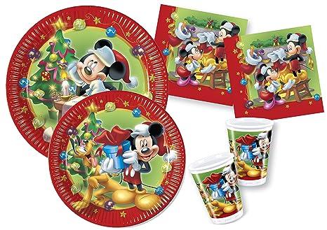 Immagini Disney Natale.Ciao Y4476 Kit Party Tavola Disney Mickey Minnie Natale Per 30 Persone 30 Piatti Carta O23cm 30 Piatti Carta O20cm 30 Bicchieri Plastica 200ml