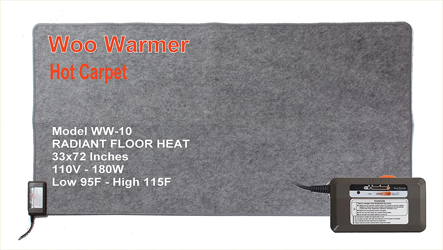 """Woo Warmer Hot Carpet Under Rug Instant Radiant Floor Heater Electric Mat Electric Carpet Electric Heated Area Rug (180 watt 33"""" x 72 inches)"""