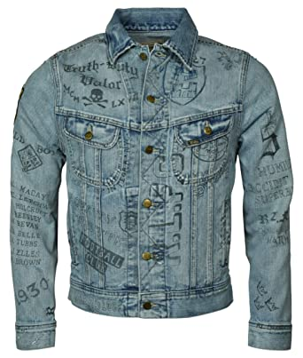 3307fed90 Polo Ralph Lauren College-Inspired Distressed Graphic Printed Trucker Jacket  at Amazon Men s Clothing store