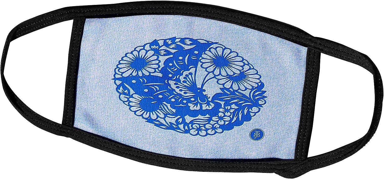 3dRose Russ Billington- Beautiful China Series - Butterfly and Daisies in a Circular Motif - Face Masks (fm_238811_1)