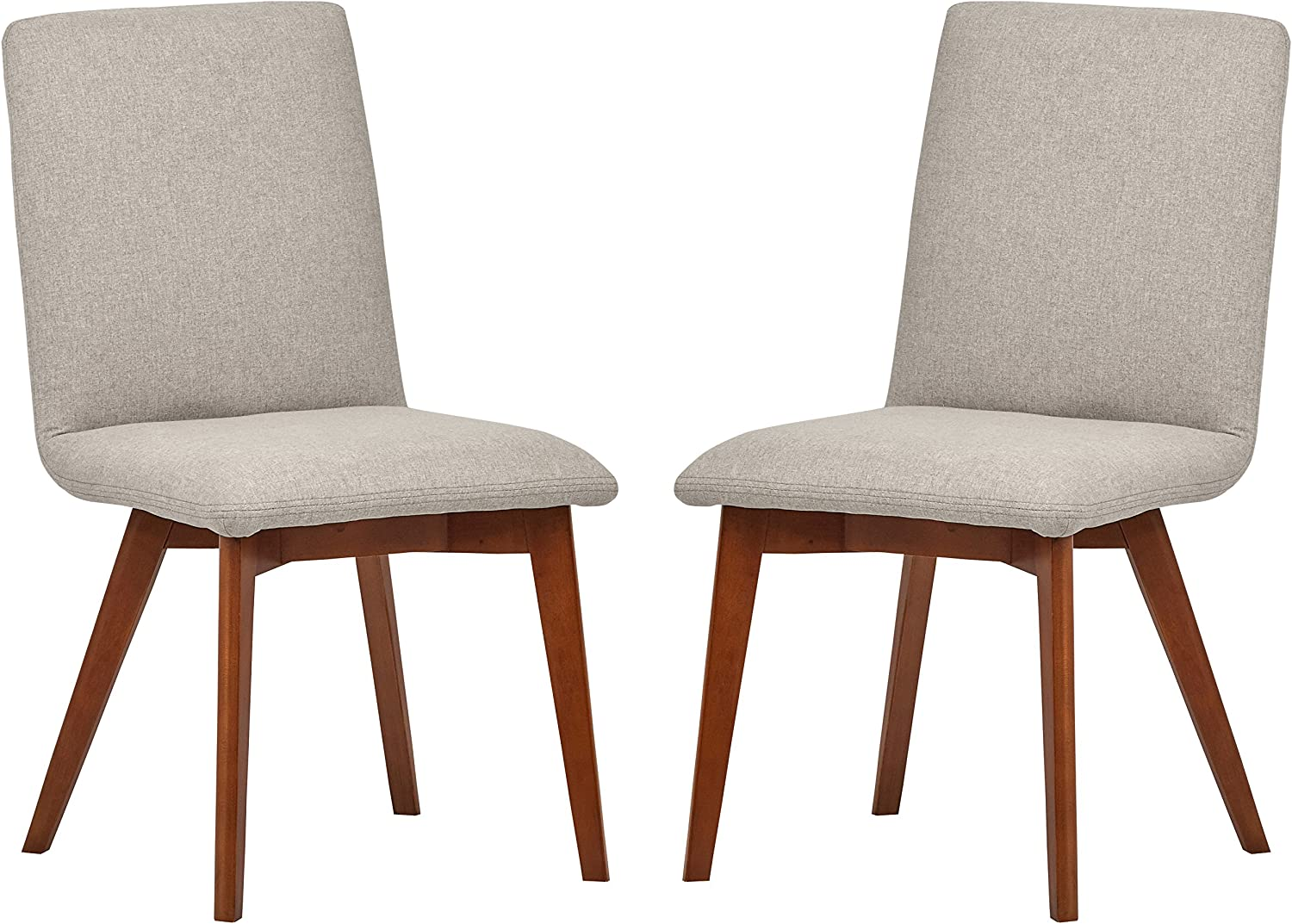 Amazon Brand – Rivet Ricky Mid-Century Modern Set of 2 Upholstered Dining Room Kitchen Chairs, 37 Inch Height, Felt Grey