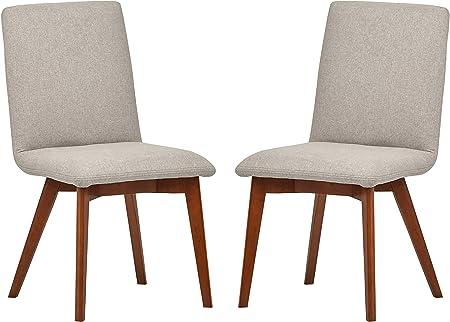 Marchio Amazon Rivet, sedie da sala da pranzo modello Ricky, stile mid century, 2 pezzi, altezza 94 cm, colore grigio feltro