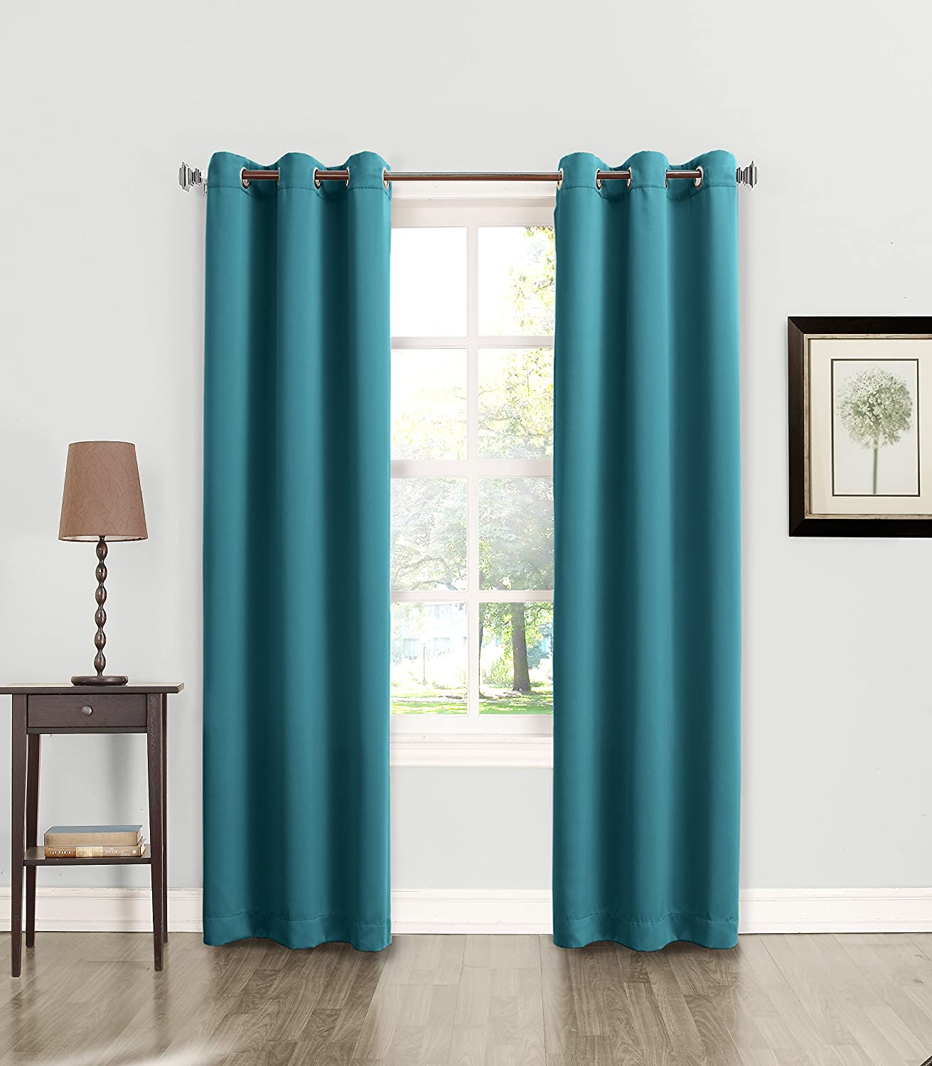 Teal curtain panels - Amazon Com Sun Zero Becca Energy Efficient Grommet Curtain Panel 40 X 84 Marine Teal Home Kitchen