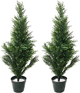 "Pure Garden 50-10005 Artificial Mini Cedar Topiary Trees, Set of 2, 34"", 11x11"