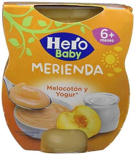 Hero Baby Merienda Merienda Melocotón y Yogur - Paquete de 2 x 130 gr - Total