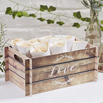 37ad23b9c Ginger Ray Wooden Effect Card Crate Box ideal for weddings   parties -  Beautiful Botanics  Amazon.co.uk  Kitchen   Home