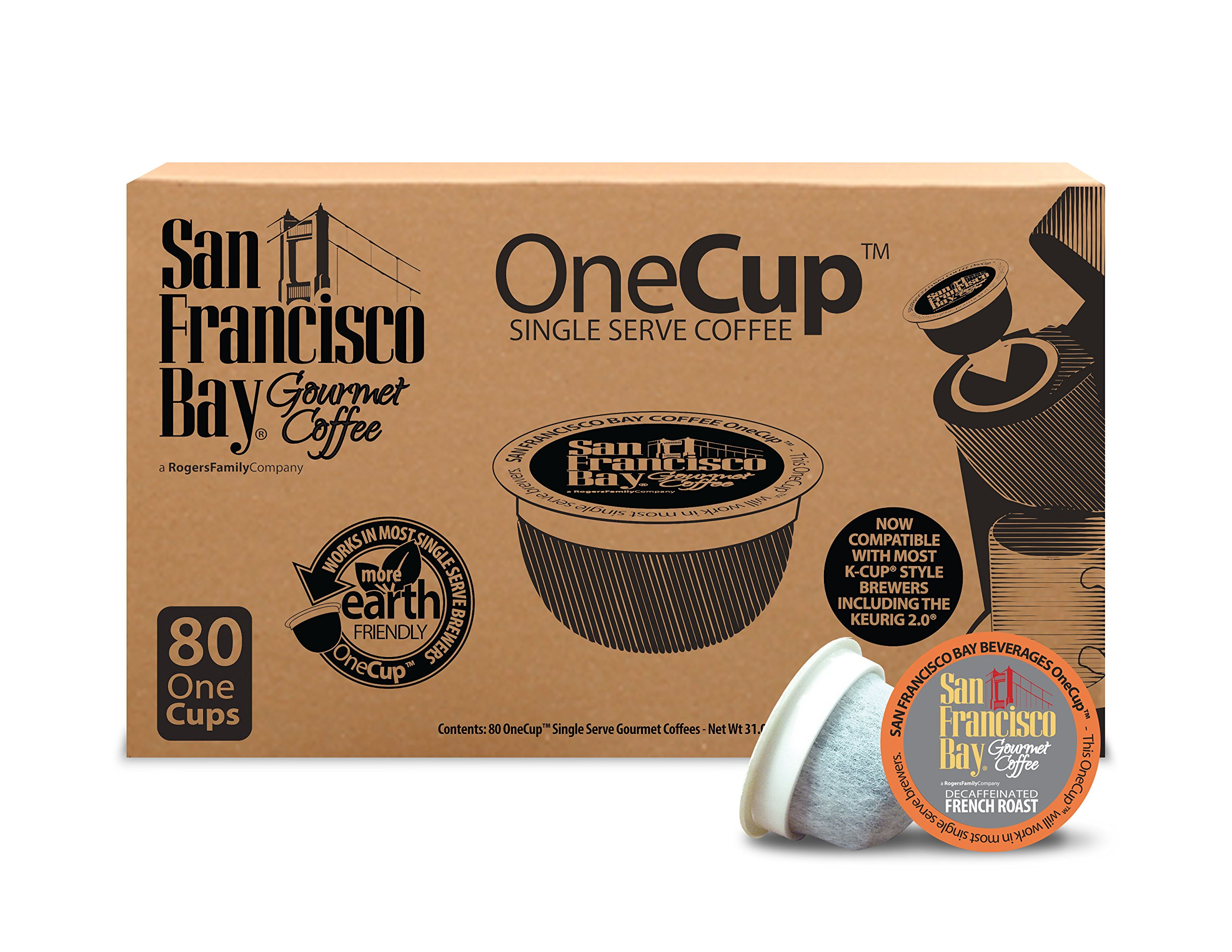San Francisco Bay OneCup Decaf French Roast (80 Count) Single Serve Coffee Compatible with Keurig K-cup Brewers Single Serve Coffee Pods, Compatible with Keurig, Cuisinart, Bunn Single Serve Brewers