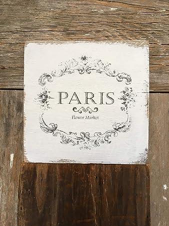 Amazon.com: Zora Camp Paris Flower Market - Placa decorativa ...