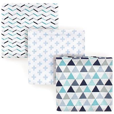 Luvable Friends 3 Piece Flannel Receiving Blanket, Boy Geometric, One Size