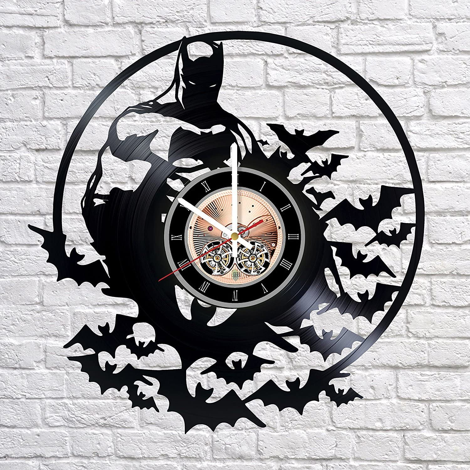 Batman Wall Clock Made of Vintage Vinyl Records - Stylish Clock and Amazing Gifts Idea – Unique Home Decor – Personalized Presents for Men Women Kids - Living Room Bedroom Art