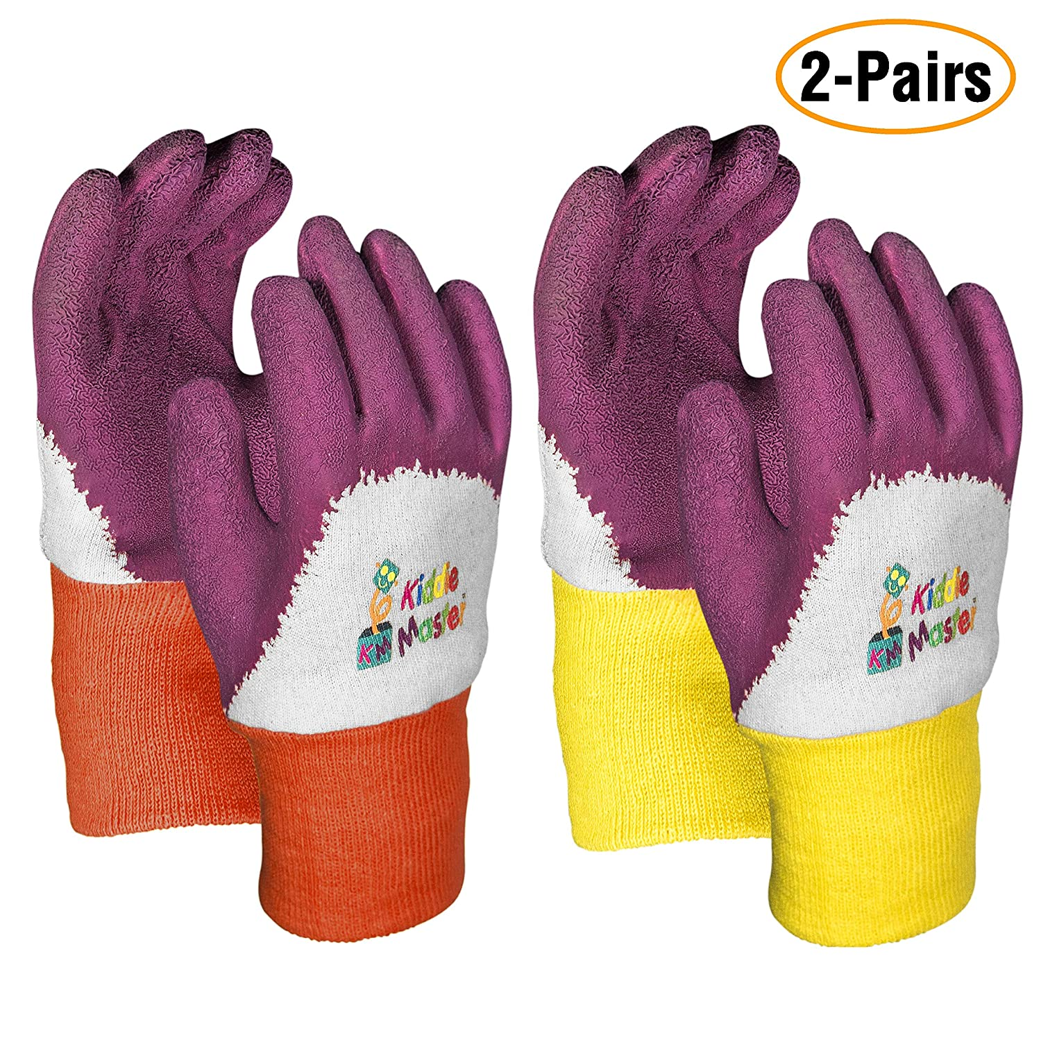 Kids Gardening Gloves by KIDDIE MASTER: 2-Pairs Children's Gardening Gloves Set for Home/School Gardening| Breathable Cotton Gripping Gloves for Yard/Lawn Work| Top Kids Learning tool Gift (2-6 Years)