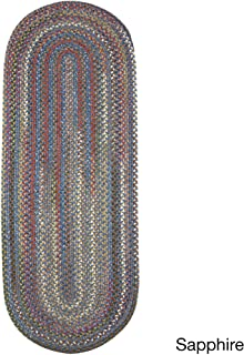 product image for Rhody Rug Charisma Indoor/Outdoor Oval Braided Runner Rug by (2' x 8') Saphire