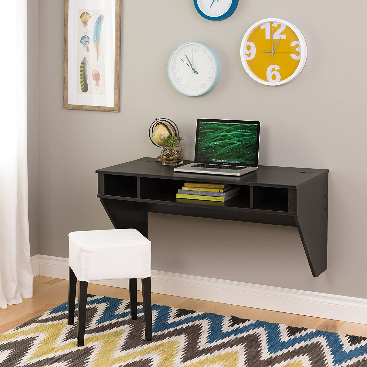 Amazoncom Wall Mounted Designer Floating Desk in Washed Ebony