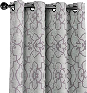 GoodGram 2 Pack Palladian Reversible Lattice Heavy Duty Thermal Blackout Curtain Panels - Assorted Sizes & Colors (Lavender/Purple, 84 in. Long)