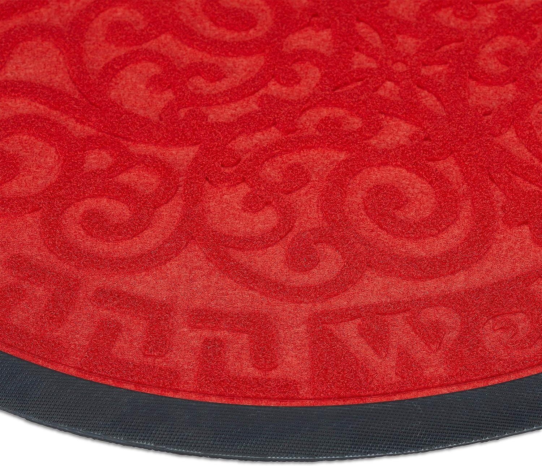 40 x 60 cm Relaxdays Felpudo Semicircular Welcome /& Goodbye Rojo 40 x 60 x 0,3 cm Goma-Poli/éster