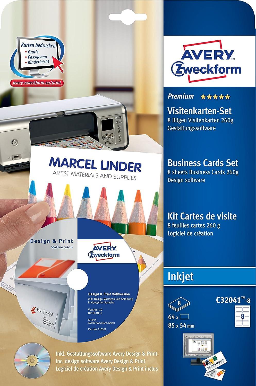 Avery Zweckform Cartes De Visite Logiciel Inclus 85 X 54 Mm Blanc 4 Feuilles 64 Import Allemagne Amazonfr Fournitures Bureau