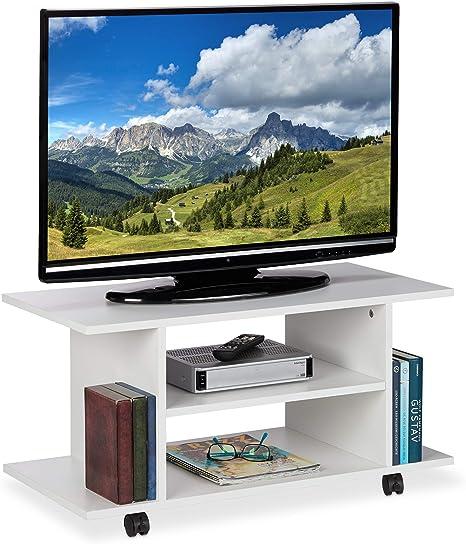 Relaxdays Mueble TV Ruedas, 4 Compartimentos Abiertos, Mesa Televisión, Tablero de Partículas, 40 x 80 x 40 cm, Blanco: Amazon.es: Juguetes y juegos