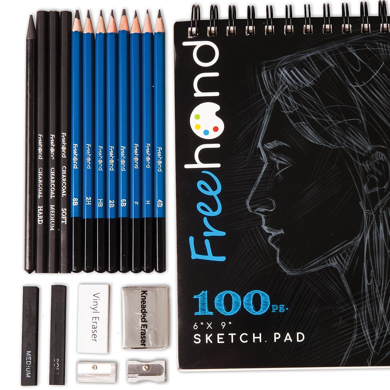set dibujo sketching con cuadernillo de 100 hojas, free hand