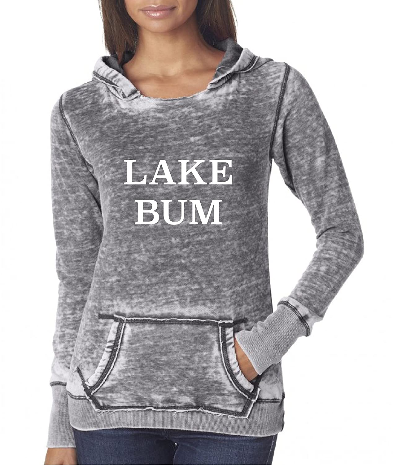 Lake Bum on acid washed vintage zen distressed hooded sweatshirt pullover