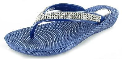 Damen Pantoletten Sandalen Flip-Flops Sommer Strand mit Keil bequem