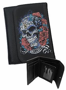 2cd42842299 Sucre Tête de mort mexicains jour des morts Genuine Darkside Alternative  Portefeuille pour homme