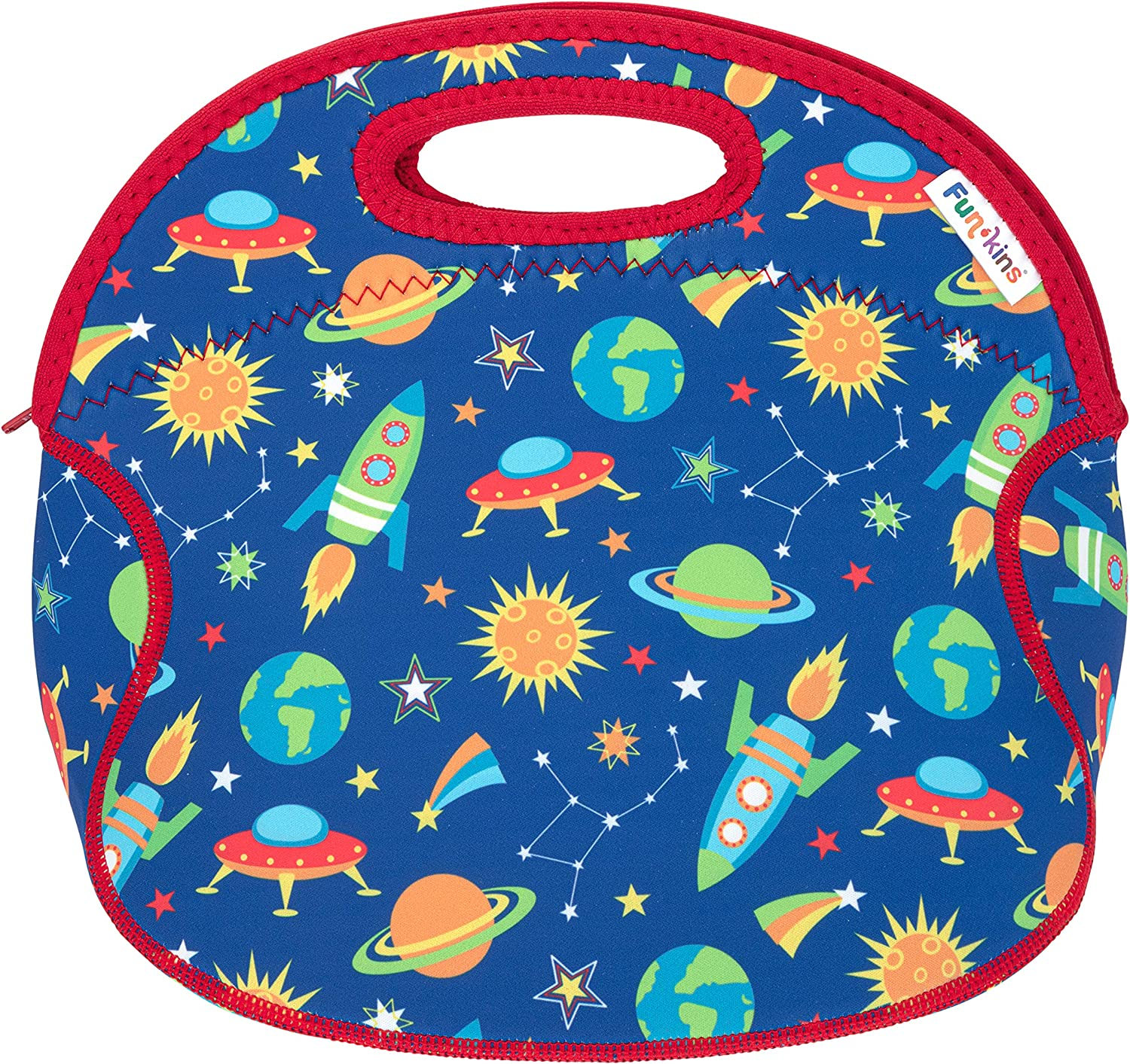 Swiss Navy Dot Spacious Easy to Pack and Clean Durable Teens or Adults Insulated Lunch Bag with Interior Pocket and Name Tag Funkins Fun Lunch Tote for Kids Machine Washable