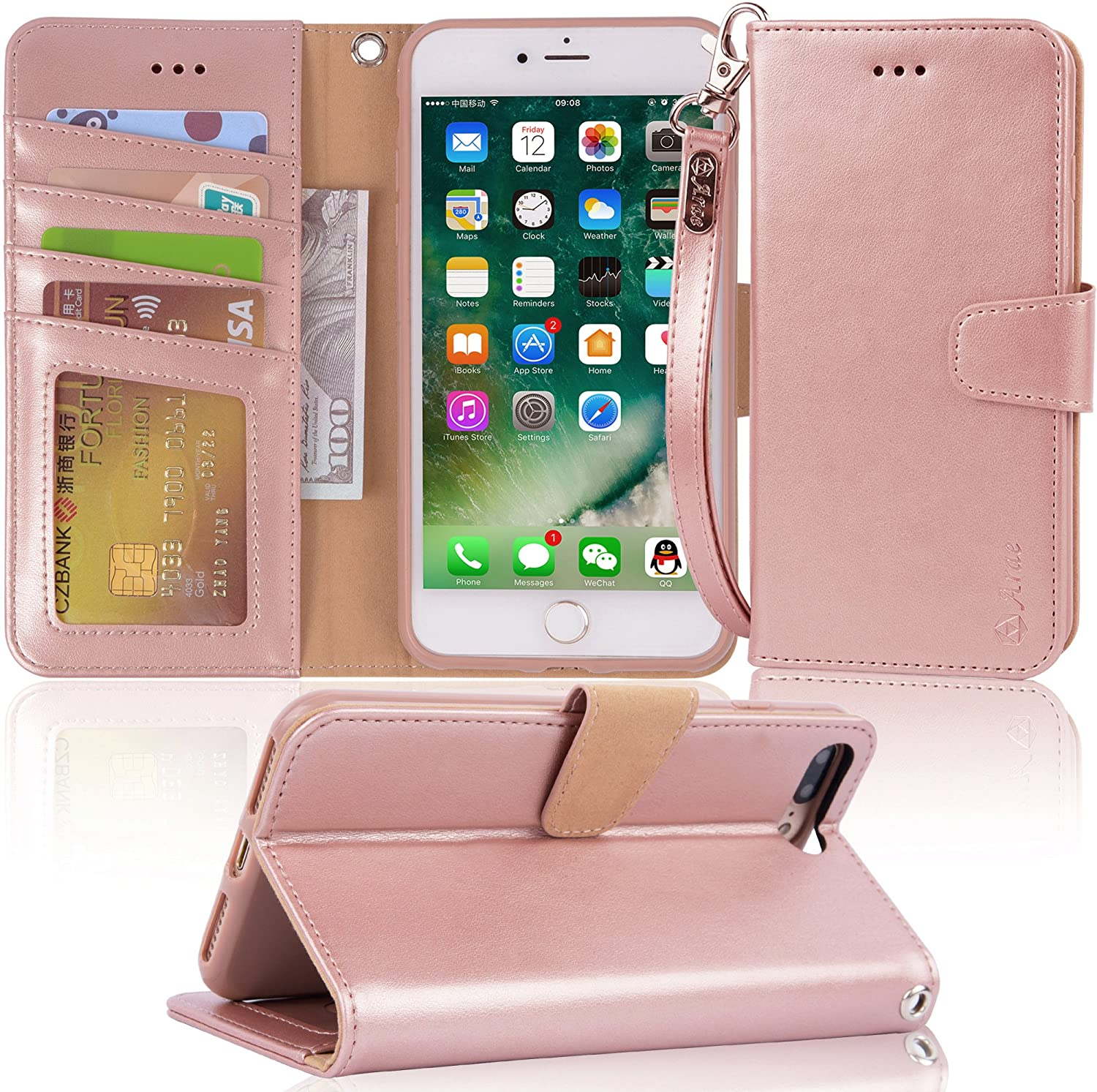 "Arae Case for iPhone 7 Plus/iPhone 8 Plus, Premium PU Leather Wallet Case with Kickstand and Flip Cover for iPhone 7 Plus (2016) / iPhone 8 Plus (2017) 5.5"" (not for iPhone 7/8) - Rose Gold"