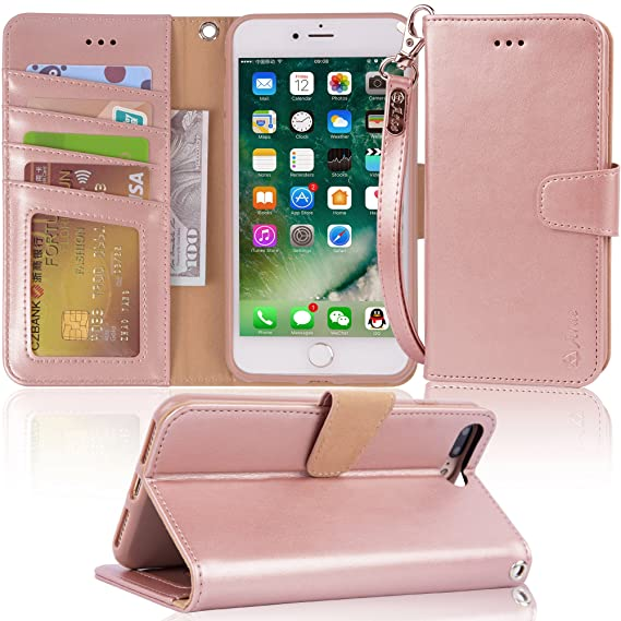 online store 22f45 cf2ad Arae Case For iPhone 7 plus / iPhone 8 plus, Premium PU leather wallet Case  with Kickstand and Flip Cover for iPhone 7 Plus (2016) / iPhone 8 Plus ...
