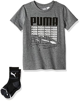 e2281b113244 Amazon.com: PUMA Little Boys' T-Shirt & Sock Set: Clothing