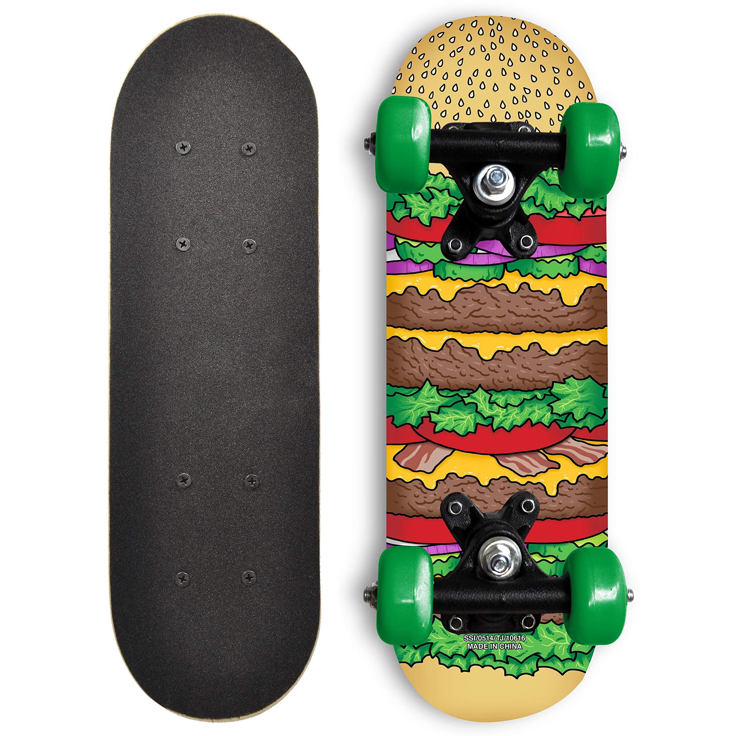 RudeBoyz 17 Inch Mini Wooden Cruiser Graphic Beginner Skateboard (Cheeseburger Design) by RudeBoyz
